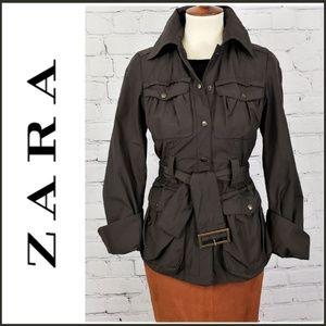 ZARA BASIC Brown Short Utility Jacket Small